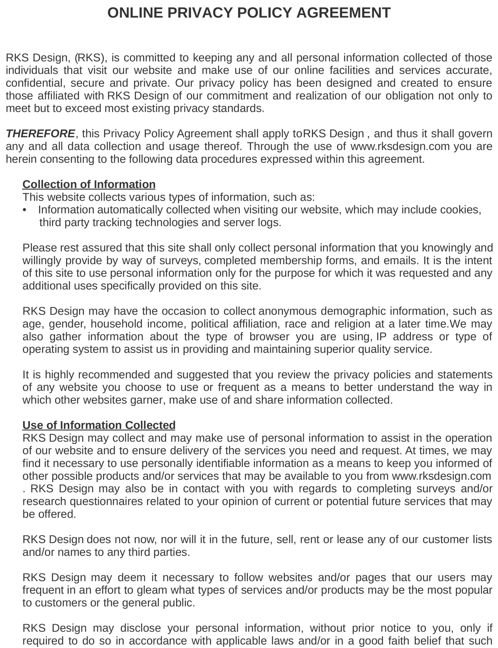 RKS design privacy policy page 1